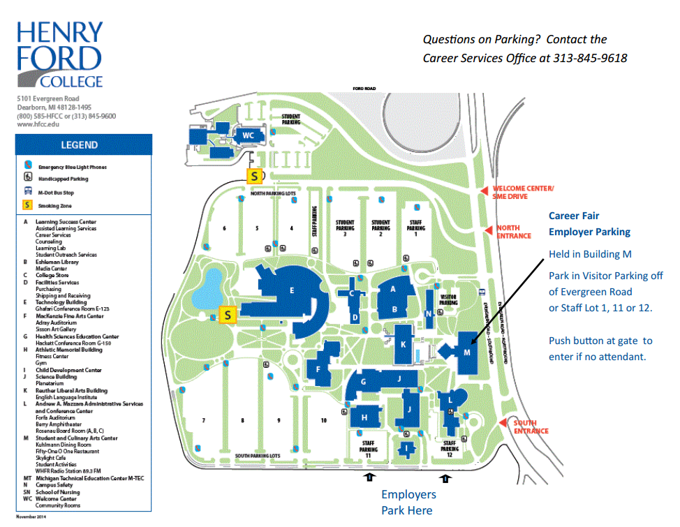 Map of HFC Campus indicating the location of the event, Building M